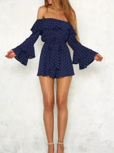Load image into Gallery viewer, Polka Dot Off Shoulder Long Sleeve Jumpsuit Rompers