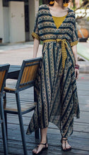 Load image into Gallery viewer, CONTRAST COLOR IRREGULAR SHAPE STRIPE BOHO TWO-PIECE LONG DRESS