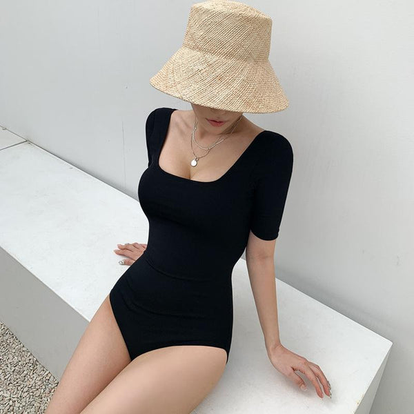One Piece Swimsuit Women Slim Back Platycodon Square Collar Small Fresh Small Chest Bikini