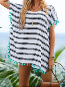 Black White Stripe Tassel Chiffon Beach Bikini Cover Up