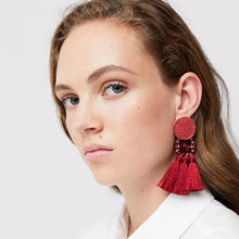 Load image into Gallery viewer, Bohemia tassel statement big earrings for women jewelry accessories retro ethnic party