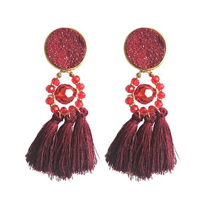 Bohemia tassel statement big earrings for women jewelry accessories retro ethnic party