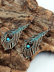 Leaf Pattern Vintage Alloy Earrings Accessories