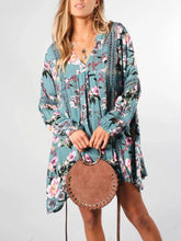Load image into Gallery viewer, Floral V Neck Long Sleeve Casual Mini Dress