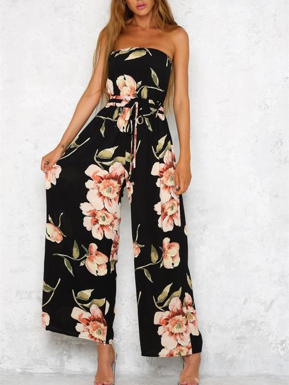 Flower Off Shoulder Wide Leg Pants Jumpsuit Rompers