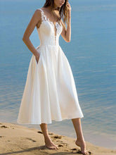 Load image into Gallery viewer, Summer Sexy V-Neck Sling Solid Color White Dress