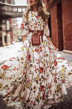 Load image into Gallery viewer, Floral Print Round Neck Bohemia Maxi Dress