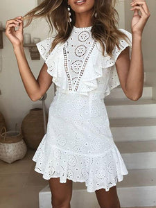 Bohemian Summer Beach Backless Ruffles White Mini Dress