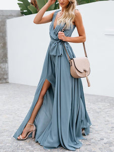 Solid Color V Neck Split Beach Maxi Dress