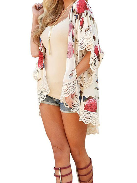 Chiffon Lace Flower Print Swimwear Beach Bikini Cover Up