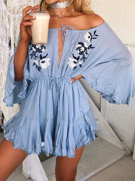 Off Shoulder Long Sleeve Embroidered Short Mini Dress