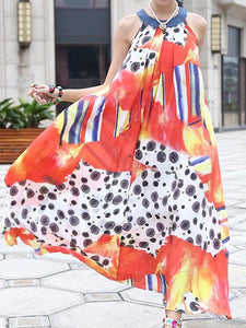 New Print Sleeveless Loose Summer Maxi Dress