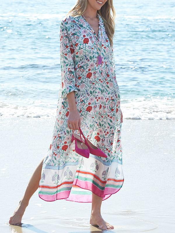 Print Long Sleeve Beach Swimwear Cover Up
