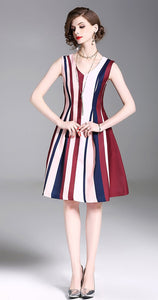 Stripe V Neck Sleeveless New Mini Dress