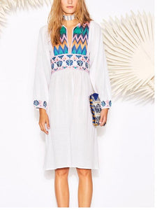 White Embroidered Long Sleeve Dress