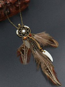 Retro Hollowed  Feather  Tassel Sweater Chain
