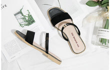 Load image into Gallery viewer, Summer Beach Flat Heel Sandals Solid Color Slippers
