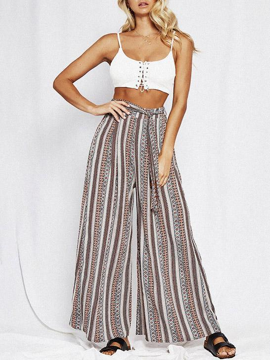 Print Stripe Belted High Waist Wide Leg Pants