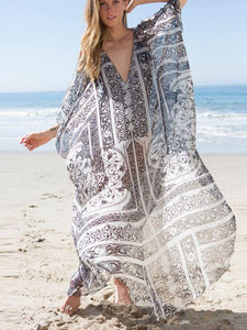 Oversized Chiffon Beach Blouse Holiday Sun Protection Cover-Up