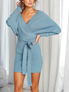2018 Knit V Neck Long Sleeve Belted Mini Dress