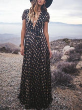 Load image into Gallery viewer, Print V Neck Short Sleeve Boho Maxi Dress