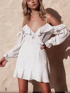 Sexy Deep V-neck Ruffled Sling Strapless Wave Print Dress