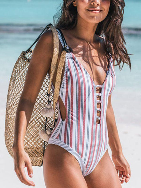 Beach Print Stripes Flowers One-Piece Bikini Swimsuit