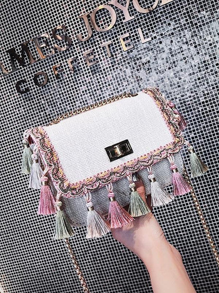 2018 Tassel Mini Chain Canvas Shoulder Crossbody Bag