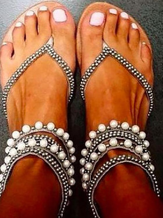 Summer Beach Beaded Clip Toe Sandals