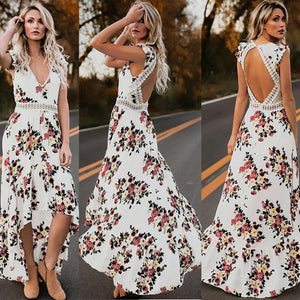 Sexy dress sleeveless V-neck print irregular long dress