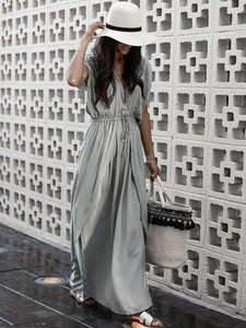 Solid Color V Neck Irregular Maxi Dress
