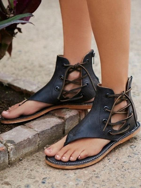 2018 Fashion Bandage Flat Sandals Shoes For Women