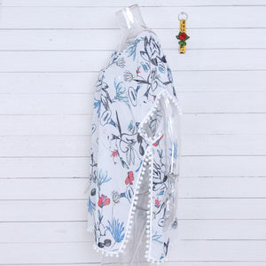 Chiffon Print Tassel Swimwear Beach Bikini Cover Up