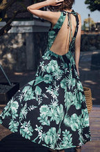Load image into Gallery viewer, VINTAGE FLORAL BACKLESS MAXI DRESS