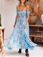 Load image into Gallery viewer, Flower Print Off Shoulder Beach Maxi Dress