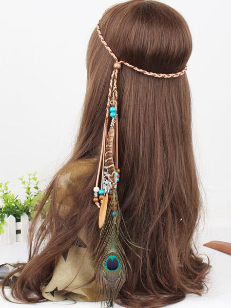 Bohemian Gypsy Handmade Peacock Feathers Beads Headwear Accessories