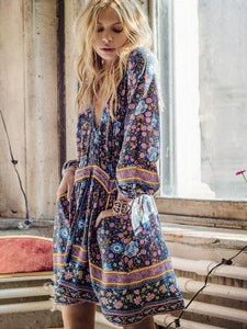 Bohemian tie printed beach dress