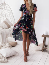 Load image into Gallery viewer, Floral Print V Neck Short Sleeve Beach Dress
