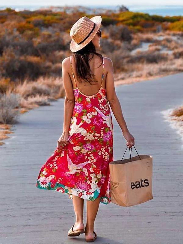 Bohemian Floral V-neck Side Slit Spaghetti Straps Slip Midi Dress