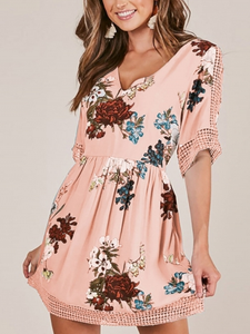 Floral V Neck Casual Half Sleeve Mini Dress