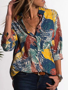 Casual V-Neck Floral Print Long Sleeve Mid-Length Blouse