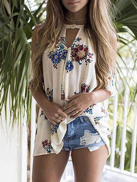 Flower Print Cold Shoulder Tops T Shirt Blouse