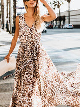 Load image into Gallery viewer, Bohemian Leopard Print Sleeveless High Slit Large Swing Dress