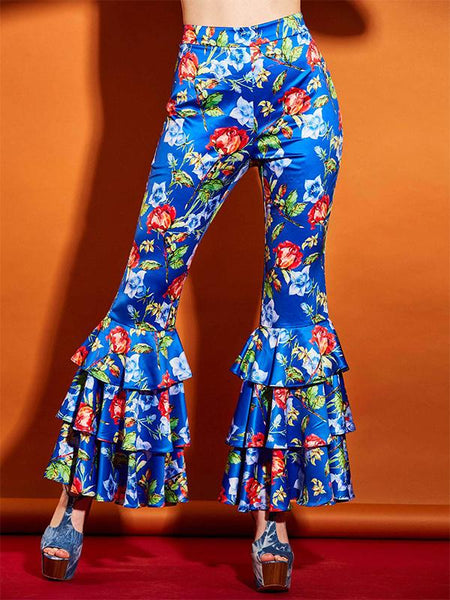 Bright Elastics Ruffles Floral Bellbottoms Pants