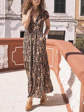 Load image into Gallery viewer, Floral V Neck Short Sleeve Beach Boho Maxi Dress