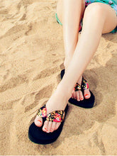 Load image into Gallery viewer, Bohemian Flip-Flops Thick Bottom Middle Heel Beach Shoes