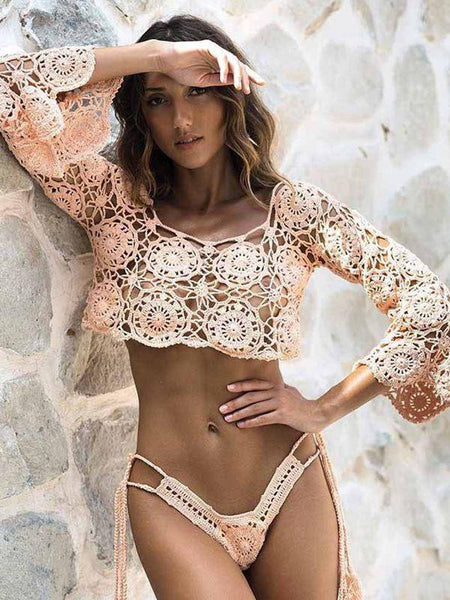 Casual Sexy Bohemian Sunscreen Piercing Swimsuit Top