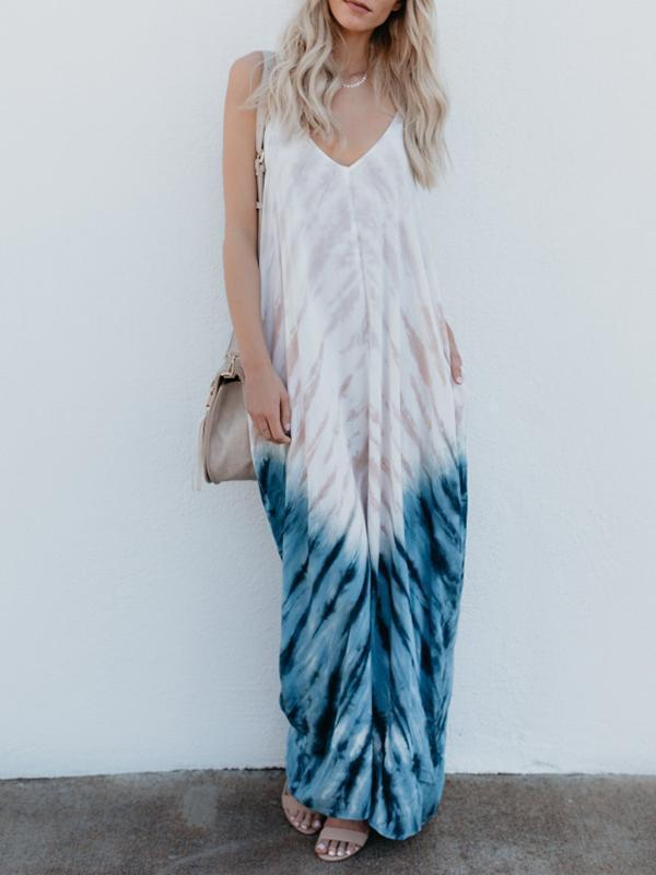 Spaghetti Strap Print Beach Maxi Long Dress