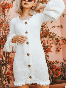 Solid Color Long Sleeve Button Mini Dress