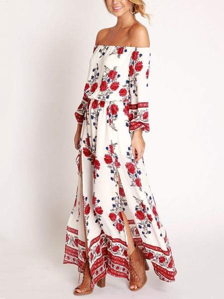 Floral Print Off Shoulder Split Beach Maxi Dress